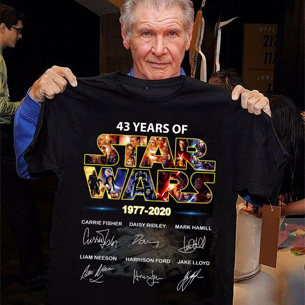 43 Years Of Star Wars 1977 - 2020 And Character Signatures Shirt