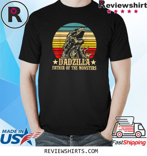 Dadzilla Father Of The Monsters Retro Vintage Sunset Shirt