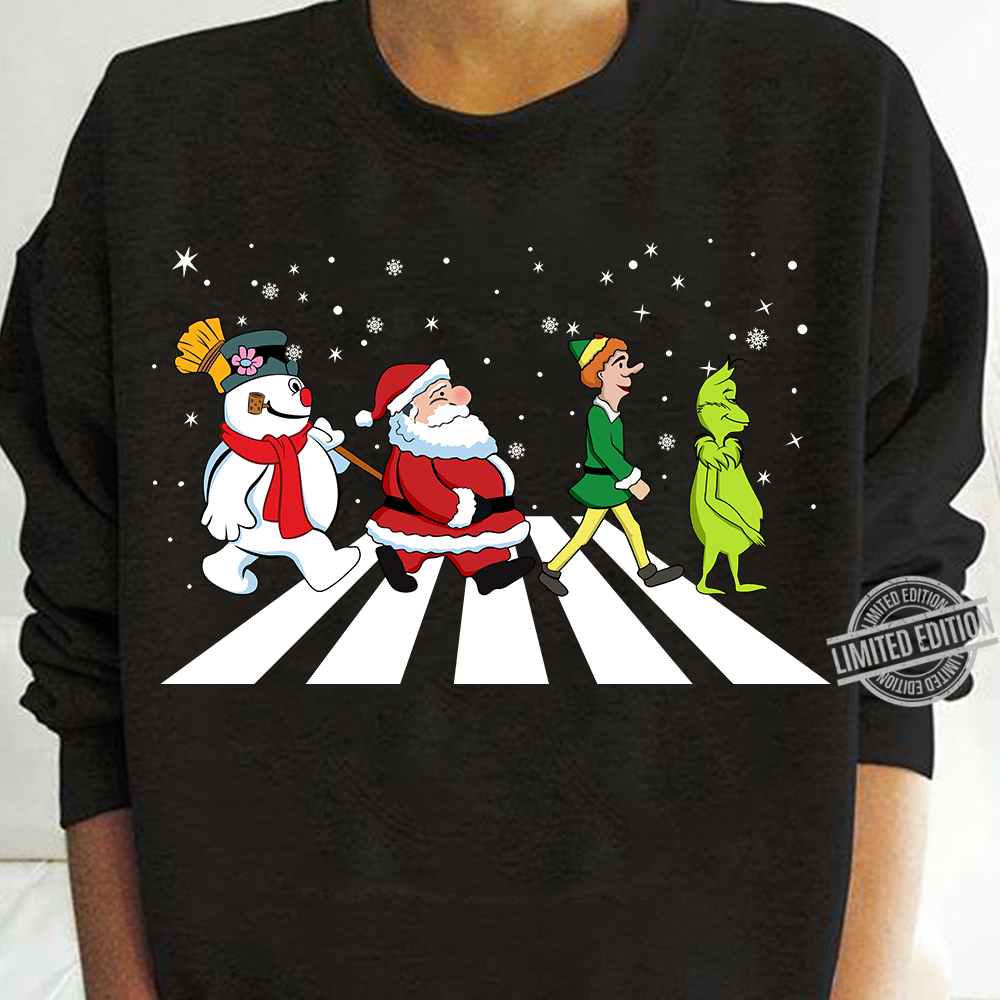 Grinch Elf Santa And Snowman Road Merry Christmas Shirt