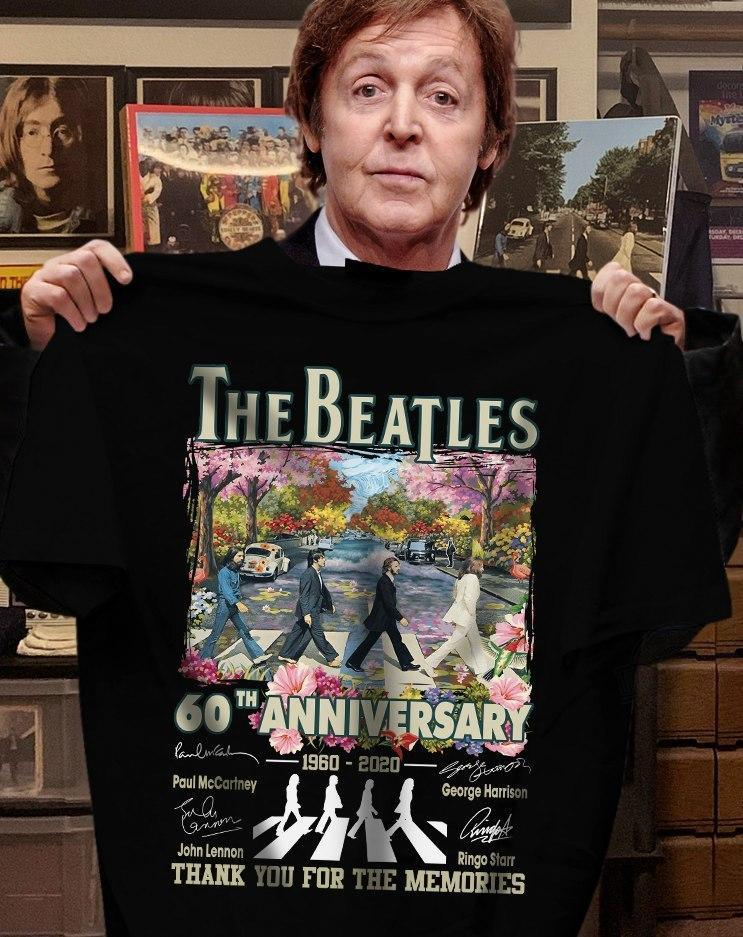 The Beatles 60th Anniversary 1960 - 2020 Members Signature And Thank You For The Memories Shirt